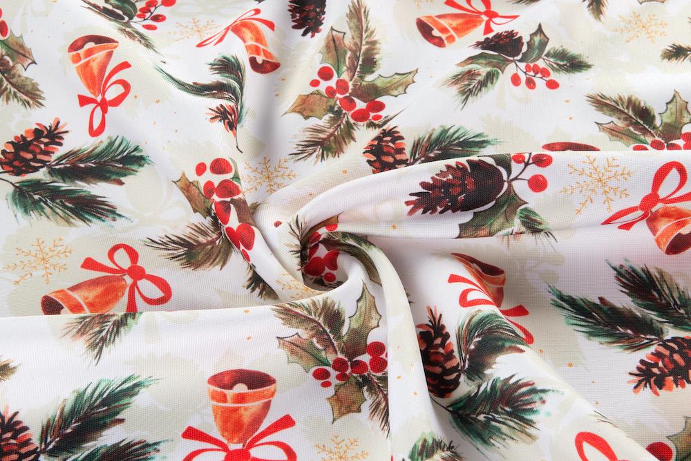 Dekoračná vianočná látka - Zvončeky biela