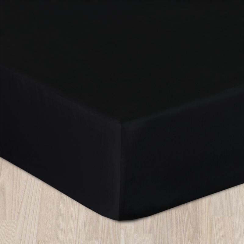 Plachta bavlnený satén s gumkou - čierny