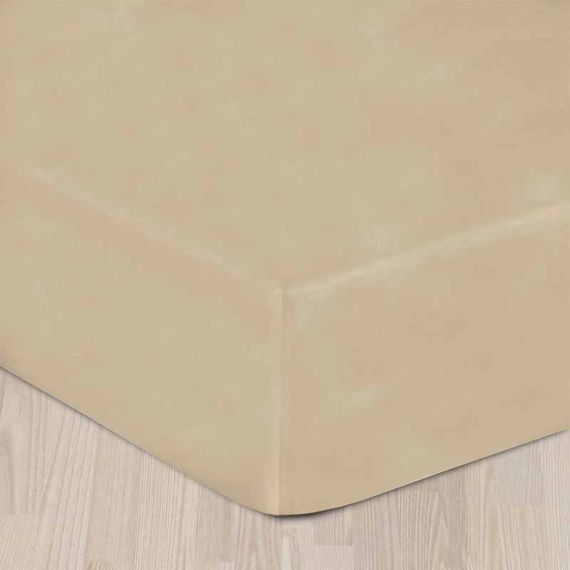 Plachta bavlnený satén s gumkou - béžová