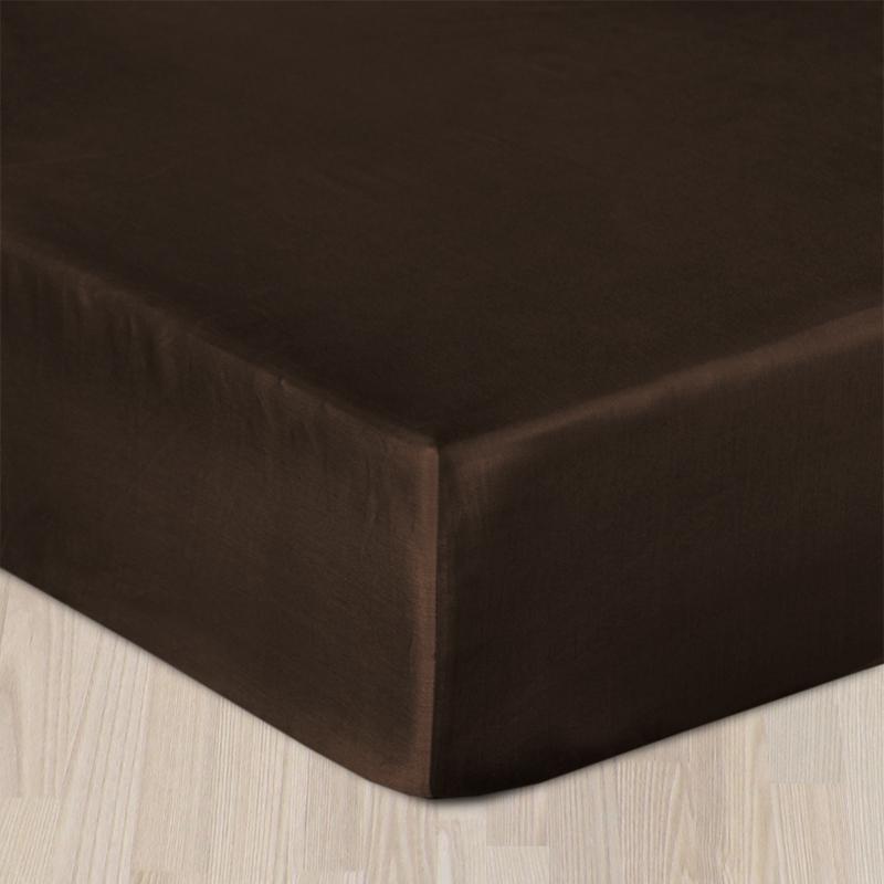 Plachta bavlnený satén s gumkou - hnedá