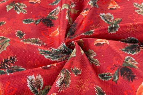 Dekoračná vianočná látka - Zvončeky červená