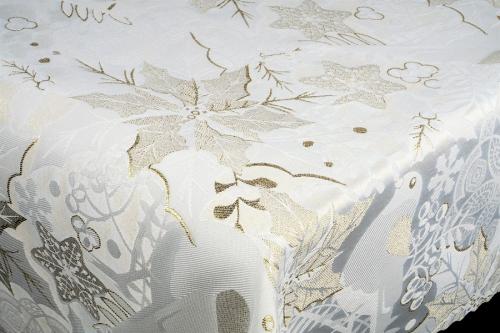 Vianočný obrus Lux NOEL - krémovo strieborný