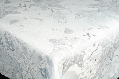 Vianočný obrus Lux NOEL - bielo strieborný